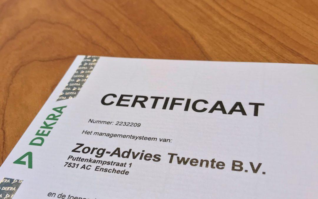 Zorg-Advies Twente is ISO9001:2015 gecertificeerd